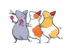 Children's illustration: notonthehighstreet.com: Guinea Pig Conga Print