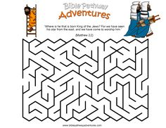 A maze activity for kids from the story, Birth of the King. biblepathwayadventures.com