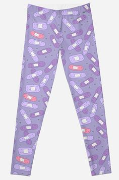 'Purple and Pink Bandages' Leggings by FrostedSoSweet Gothic Leggings, Kawaii Goth, Creepy Cute, Pastel Goth, Sell Your Art, Purple, Pink, Cool Things To Buy, Backgrounds