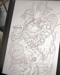 Image may contain: drawing Foo Dog Tattoo Design, Japan Tattoo Design, Japanese Tattoo Art, Japanese Tattoo Designs, Chinese Sleeve Tattoos, Asian Tattoos, Oriental Tattoo, Irezumi Tattoos, Tattoo Graphic