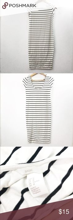 Thin striped midi dress Beautiful striped dress . Cuts a little lower in the back . Very flattering and form fitting . Dress is midi and hits below knee . Stripes are black . Rest of sees is white . Great condition . Dresses Midi