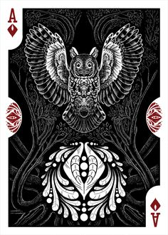 Strigiformes Owls Playing Cards by Renee LeCompte - Ace of Diamonds | more here: http://playingcardcollector.net/2014/11/26/owls-strigiformes-playing-cards-by-renee-lecompte/