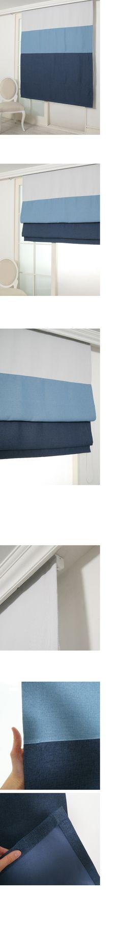 메이크룸 [린넨터치 암막 로만쉐이드(blue)]