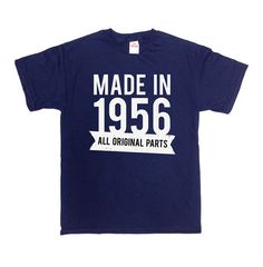 Made in 1956 (Any Year) - Personalize this T-Shirt in Any Year! Great Birthday Gift for Any 60th Birthday!  Check Out Some Other Birthday Shirts Here: https://www.etsy.com/ca/shop/CherryTees?section_id=17158496&ref=shopsection_leftnav_1 ________________________________________________________  All t-shirts are printed on 100% High Quality (Preshrunk) Cotton Branded T-shirts Such As: Fruit Of The Loom Alstyle Gildan  All t-shirts are custom made to order and are printed using the latest ink…