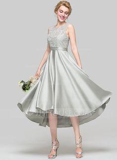 bdb75b8ee38a3 A-Line Princess Scoop Neck Asymmetrical Satin Bridesmaid Dress Wedding Party  Dresses