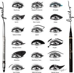 Makeup Artist - Charts of different types of Eye liner, Love this!!