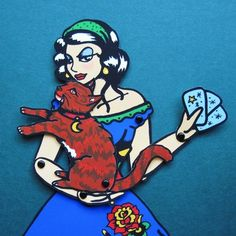 Gypsy Caravan FORTUNE TELLER and Cat Paper Doll by illustratedink, $14.00