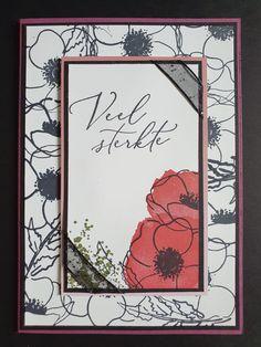 Deze kaart van Ingrid Nellen is grotendeels gebaseerd op een kaart van Christine Bertram. Ze heeft zowel de Painted Poppies stempelset als de Hartverwarmd Stempelset. De Rococo Rose heeft ze laten terugkomen door het Oh So Ombre papier te gebruiken en het zwarte organdy ribbon met glitters maakt het af. #prulleke #prullekekleurencombinatie #stampinupnederland #paintedpoppiesstampset #stampinupdemonstratrice #kleurencombinatie #echtepostiszoveelleuker #stampinupdemo #hartverwarmendstampset Stampin Up, Frame, Home Decor, Picture Frame, Decoration Home, Room Decor, Stamping Up, Frames, Home Interior Design