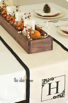 DIY Monogrammed Table Runner via Amy Huntley (The Idea Room)