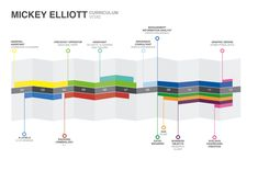 A simple timeline visualisation of a CV, including education at the top, and experience at the bottom.