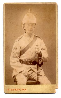 This staff sergeant of an unidentified regiment appears to be wearing the gray serge uniform issued to British  troops during Woseley's Nile Campaign also known as the Gordon Relief Expedition of 1884-5. He also wears a  medic's badge on his sleeve.  Carte de Visite Pascal Sebah - Photographer sur L'Esbekieh, Cairo, Egypt c. 1884-5