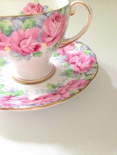 English Fine Bone China Royal Standard Rose of Sharon Pattern Demitasse Cup and Saucer Little Princess Tea Party