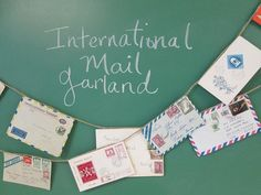 World Mail Banner, Made to Order, Air Mail, Bon Voyage, Travel, Vintage Mail, Envelope Art, Par Avion, Travel Wedding, Pen Pal, Snail Mail
