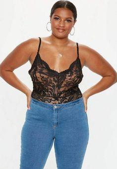 Plus Size Black Lace Bodysuit Curvy Women Outfits d8bed78fb