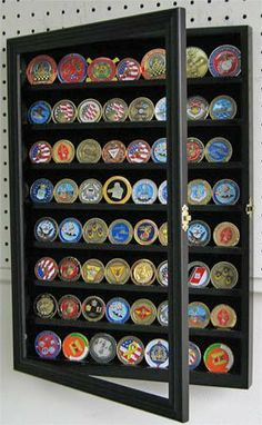 4 Rows 40 Challenge Coin Casino Chip Display Case Rack Holder Stand for Table Shelf Desk