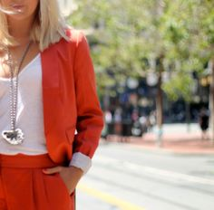 Kathleen Ensign, stylish fashion blogger of KatWalkSF, perfectly matches our Melancholy necklace with a Loftgirl suit. View the full feature at http://www.katwalksf.com/what-i-wore/well-suited/   #accessories #fashion #instyle