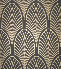 Art Deco, gold/black pattern. | Original source: http://www.achome.co.uk/artdeco/index.php?page=wallpaper=details=Manhattan+wallpaper+-+3=%3Cp%3ERepeat+0.230%3C%2Fp%3E%3Cp%3EPrice%3A%26pound%3B45%3C%2Fp%3E=manhattan3 (Thank you, Karin Kirchner-Gagne)