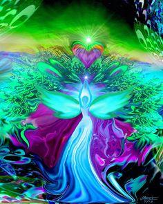 Teal Wall Decor Angel Art Reiki Healing Energy Art Heart 8 x 10 Print on Etsy, $20.00