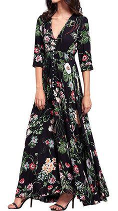 Boho Floral 3/4 length Sleeve V Neck Maxi Dress