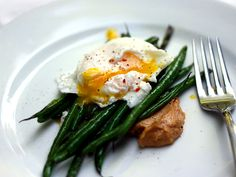 Miso Butter on Poached Eggs and Green Beans (Could anything sound more delicious?)