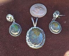 Wow! Stunning Vintage Southwest design Green Amythyst (?) Earrings & Pendant #DropDangle