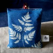 Blue cyanotype fern printed Lavender Bag / early photography