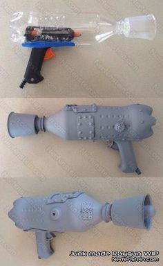retro raygun out of junk prop build. Because maybe some Halloween, I'll want… retro raygun out of junk prop build. Because maybe some Halloween, I'll want to be some kind of Barbarella.Awesome DIY bottle Gun Super Easy - COSPLAY IS BAEEE! Cosplay Tutorial, Cosplay Diy, Cosplay Costumes, Halloween Costumes, Simple Cosplay, Alien Halloween, Retro Halloween, Steam Punk Diy, Steampunk Weapons