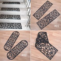 Black Rubber Scroll Pattern Stair Treads Step Mat Antiskid Safety Pad Hot Source by Basement Stairs, House Stairs, Carpet Stairs, Basement Ideas, Stairs With Carpet Runner, Carpet Stair Treads, Stair Renovation, Stair Mats, Staircase Makeover