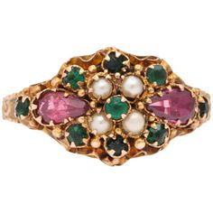 1922 Rare Suffragette Colors Violet Ruby Emerald Gold Ring | From a unique collection of vintage more rings at https://www.1stdibs.com/jewelry/rings/more-rings/