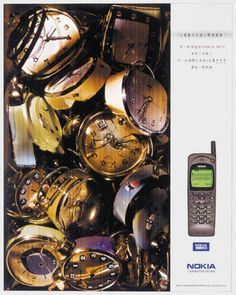 """Read more: https://www.luerzersarchive.com/en/magazine/print-detail/nokia-1119.html Nokia How to stuff twelve clocks into such a small phone. (Explanation: The display of Nokia´s cellular phone provides enough room for the Chinese character signifying """"clock"""" to be written twelve times.) Tags: Dick Chan,Iric Chun,Derek Chung,Lavin Kwan,O«poon  Bates, Hong Kong,Nokia,Ron Cheung,Bates 141, Hong Kong"""