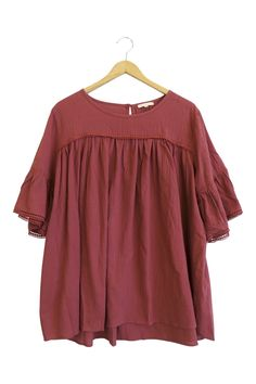 Magenta Half Sleeve Blouse  Bell Sleeves + Lace Detail  Loose Fit  If in-between sizes, size down  Model is wearing a small
