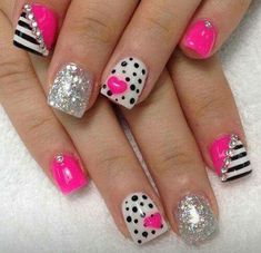 Change the forefingers to a hot pink and black French manicure, or a natural nail and black mani