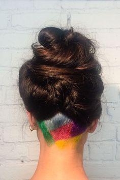 Peekaboo Rainbow Hair Is Our New Favorite Thing Hair Inspo, Hair Inspiration, Peekaboo Hair Colors, Blond, Beauty Makeover, Hair Tattoos, Undercut Hairstyles, Rainbow Hair, Hair Today