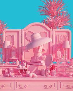 vaporwave color palette Surreal Pink Scenes by Lee Sol Fubiz Media Vaporwave, Tout Rose, Rosa Pink, High Renaissance, 3d Prints, Everything Pink, Pink Walls, Pastel Pink, My Favorite Color