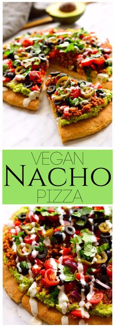 Vegan nacho pizza is a pizza with nacho toppings. Am I blowing your mind right now? A pizza crust slathered with guacamole and topped with vegan taco meat, veggies, jalapeños, cilantro and vegan sour cream. How many days can I live off this?
