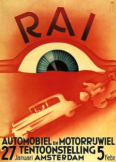 Automobile show poster designed by Jacob Jangma 1932.