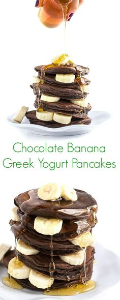 Chocolate Banana Greek Yogurt Pancakes Recipe - Protein-packed, easy, and the perfect healthy weekday breakfast or weekend brunch! - The Lemon Bowl: