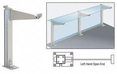 CRL Satin Anodized 18' Left Hand Open End Partition Post With Top Shelf - D995ALH0E