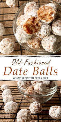 Old-Fashioned Date Balls Candy Recipes, Holiday Recipes, Cookie Recipes, Dessert Recipes, Fudge Recipes, Christmas Recipes, Classic Christmas Cookie Recipe, Christmas Date Balls Recipe, Date Nut Balls Recipe