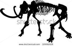 illustration with elephant skeleton silhouette isolated on white background