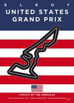 """Formula 1 USA Grand Prix Racetrack #Displate artwork by artist """"Chungkong Art"""". Part of a 29-piece set featuring minimalist designs based on popular F1 racetracks. £35 / $46 per poster (Regular size), £71 / $94 per poster (Large size) #F1 #F1GrandPrix #FormulaOne #Formula1 #GrandPrix #UnitedStates Slot Car Racing, F1 Racing, Race Cars, Slot Cars, Usa Grand Prix, Mclaren Mercedes, Ferrari F1, Circuit Of The Americas, Minimal Poster"""
