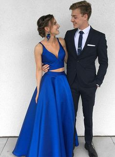 Stylish Blue Two Pieces Long Prom Dress, Blue