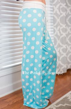 USE DISCOUNT CODE REPAMIE10 TO SAVE! www.pinklilyboutique.com Sky Blue Polka Dot Lounge Pants - The Pink Lily Boutique