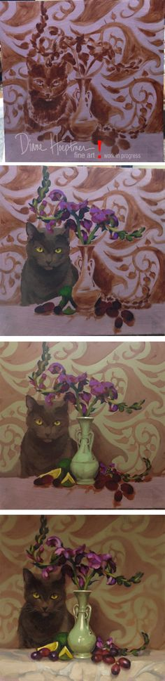 """Snapdragon Coco,"" oil on wood, 12"" x 12,"" work in progress pictures.  http://dianehoeptner.blogspot.com/2015/01/hey-add-cat-to-that-floral-still-life.html"