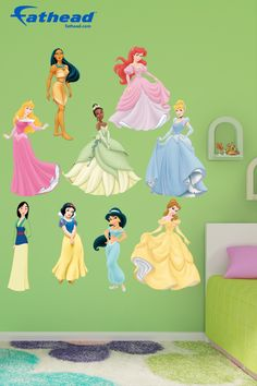 Disney Princess | Fathead wall decals are life-size action images that you stick on any smooth surface. You can move them and reuse them and they are safe for walls. Fathead wall decals are way better, bigger and tougher than a poster or sticker. SHOP http://www.fathead.com/disney/princesses/disney-princess-collection |  Home Decor On A Budget | Disney DIY Girls Bedroom Decor | New Baby Ideas | Nursery Peel + Stick Wall Murals | Fathead Wall Decal | Disney Decor