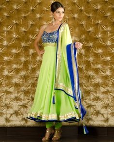 #Exclusivelyin, #IndianEthnicWear, #IndianWear, #Fashion, Lime Green Spaghetti Style Suit with Lace Yoke