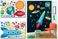 Outer space themed nursery...although, our wall is light blue