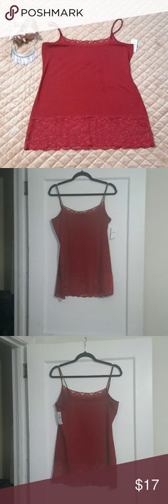 Lacey Crimson LOFT Tank Top - lace at Neckline and hem of top - Body: 57% Cotton, 38% Modal, 5% Spandex; Lace: 88% Nylon, 12% Spandex - New with tag LOFT Tops Tank Tops