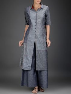 Buy Grey Red Button Down Kantha Embroidered Cotton Chambray Kurta Women Kurtas Meghvahini dresses pants and more Online at Jaypore.com
