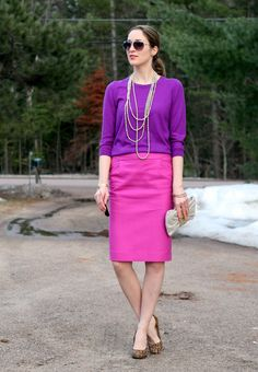 Laura Wears....  Pink sweater with a purple pencil skirt…too much?